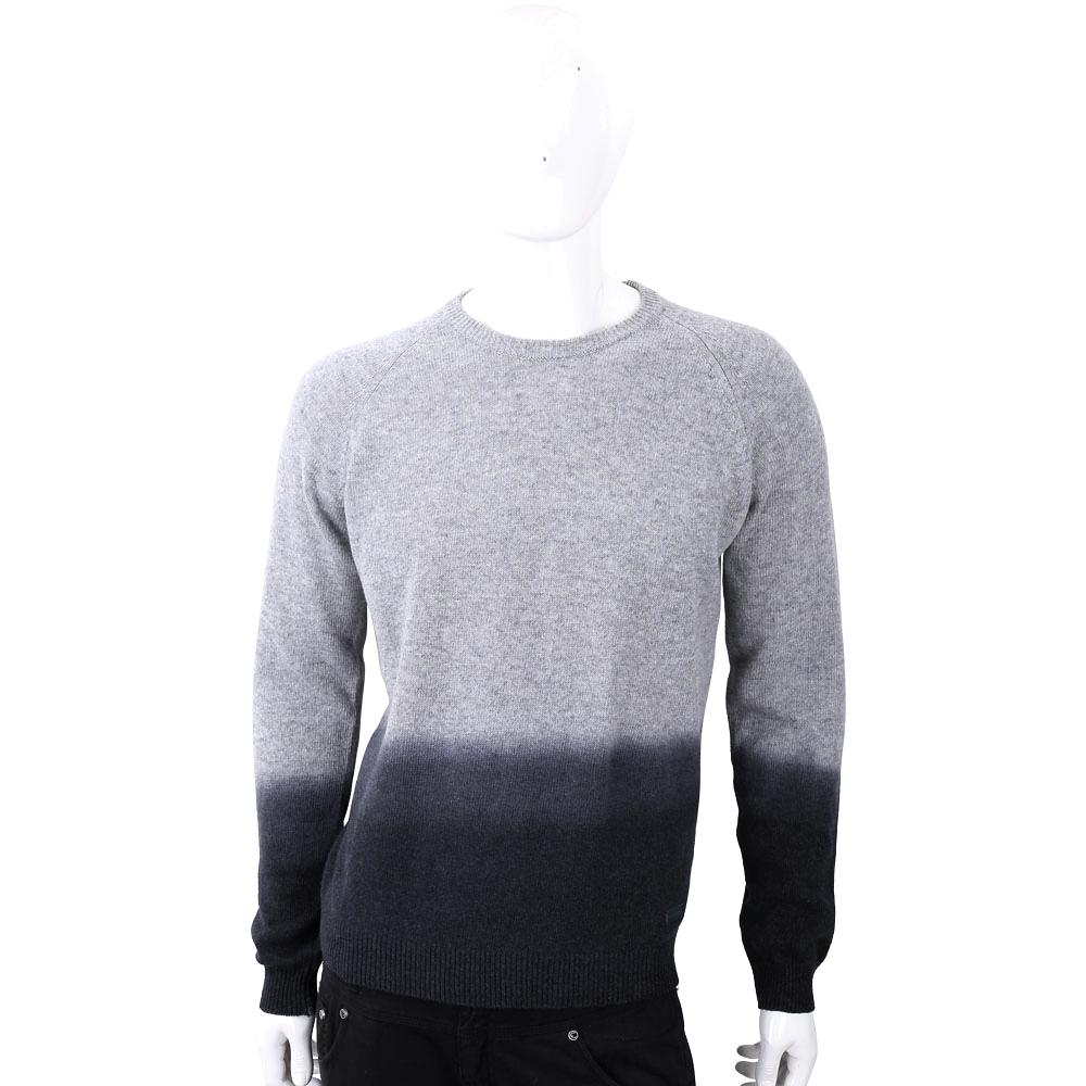 TRUSSARDI 撞色漸層皮革標灰色針織羊毛衫