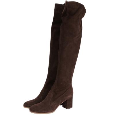 OL'AUTRE CHOSE 麂皮過膝拉鍊粗跟長靴(咖啡色)