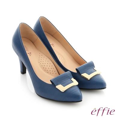 effie 個性美型 簡約飾扣環減壓奈米高跟鞋 深藍色
