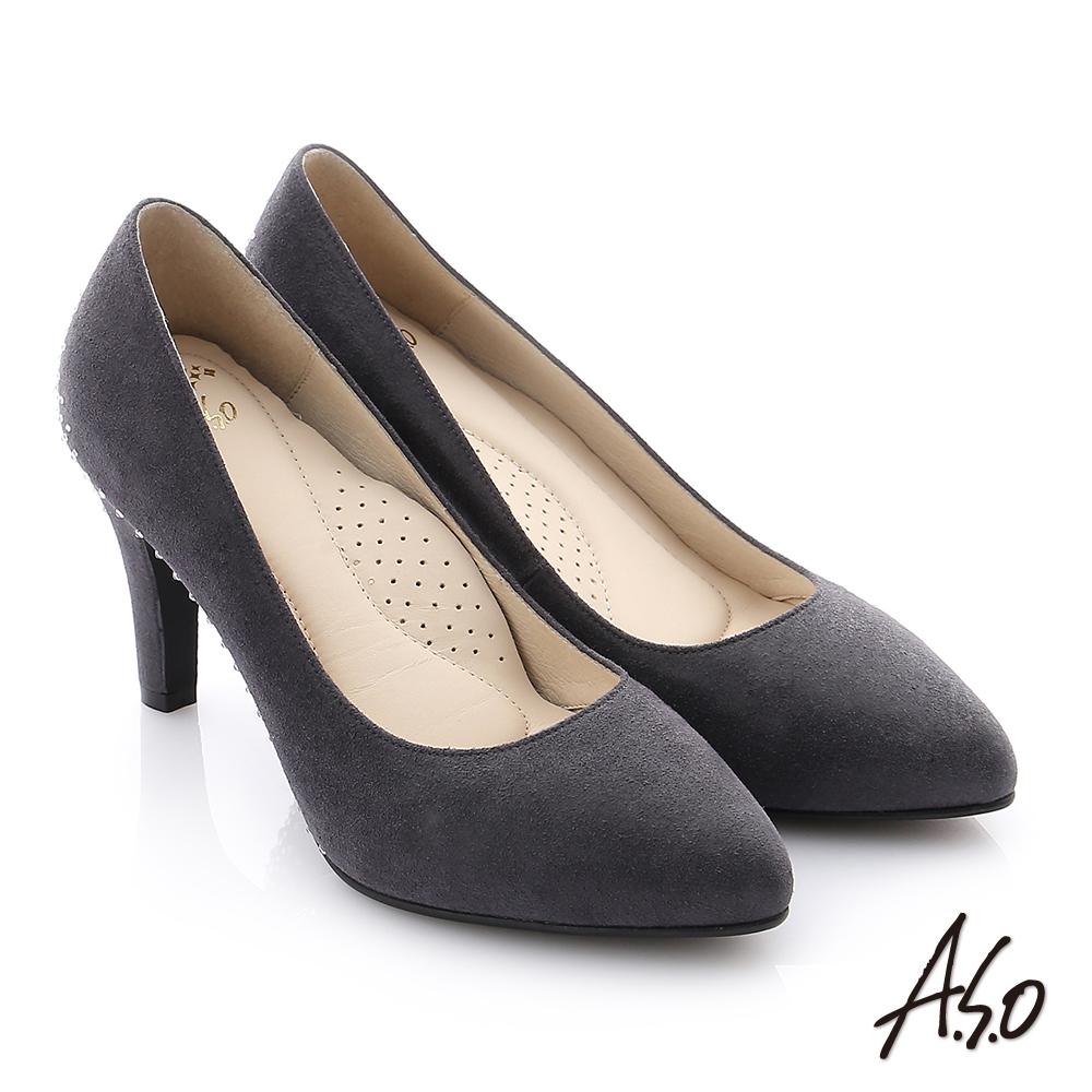A.S.O 個性美型 全真皮水鑽奈米高跟鞋 灰色