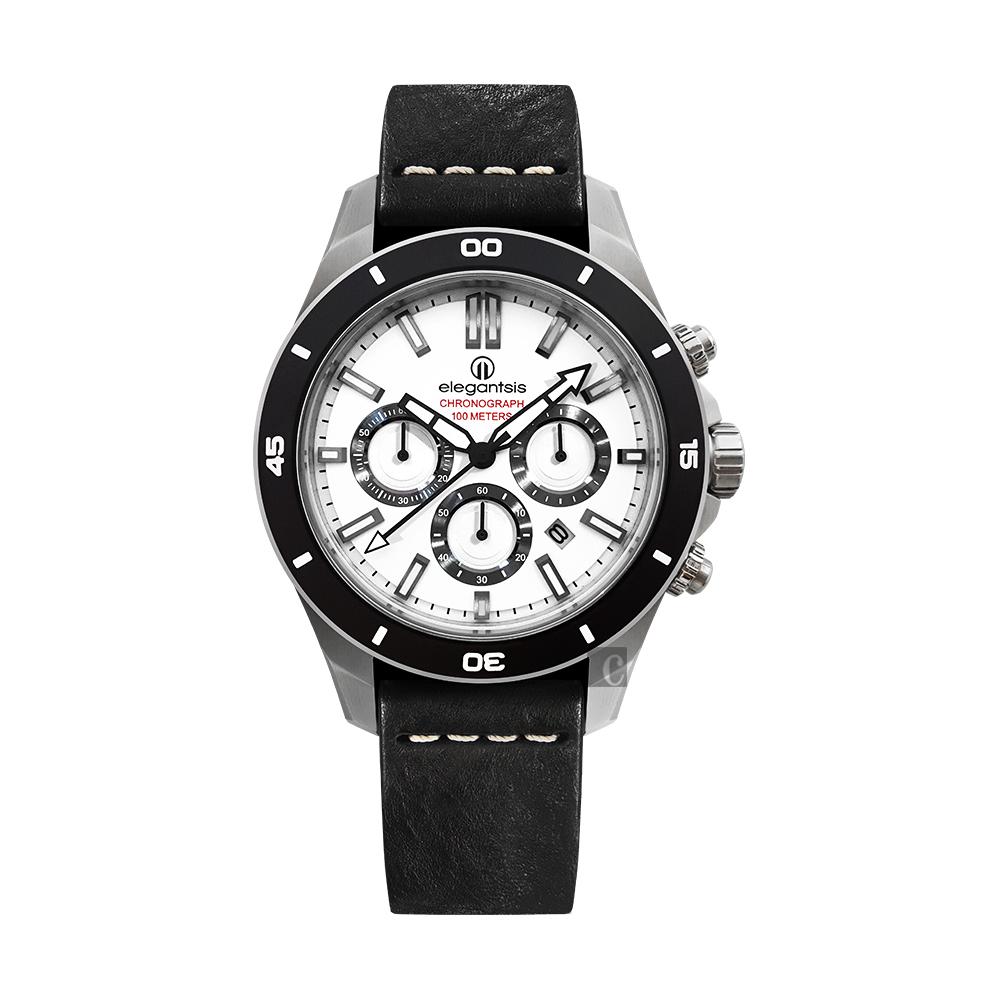 elegantsis JT65R 騎士系列三眼計時腕錶-白x黑/48mm