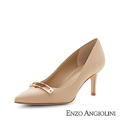 ENZO ANGIOLINI--OL簡約風尖頭高跟鞋-質感膚