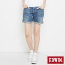 EDWIN MISS EDWIN休閒基本袋花牛仔短褲-女-漂淺藍