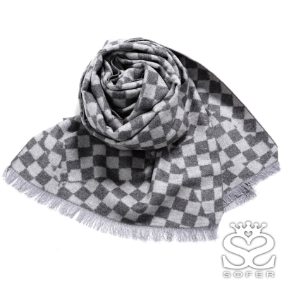 SOFER-魔術方塊蠶絲保暖圍巾-灰黑格-快