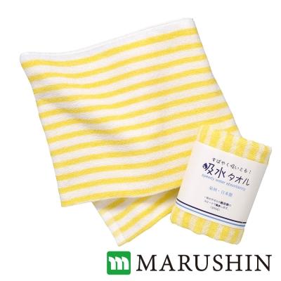 日本丸真 泉州製超吸水加大毛巾-橫紋/黃