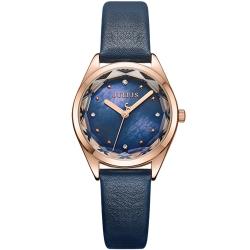 JULIUS聚利時 星之守護貝殼面皮帶腕錶-深藍/29mm