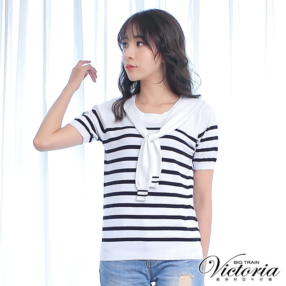 Victoria 假二件披領條紋短袖線衫-女-黑條紋