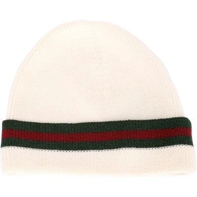 GUCCI 經典綠紅綠織帶反褶設計針織毛帽(米白色/70%LANA)