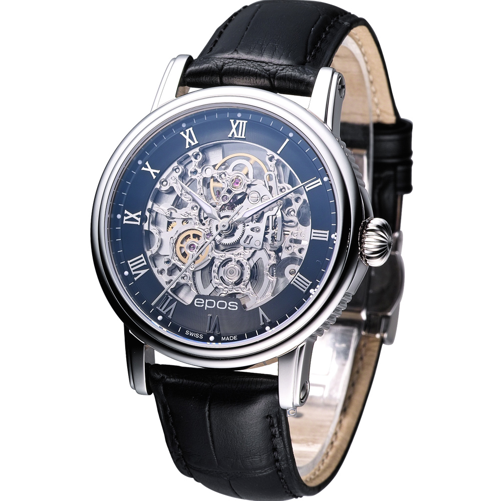 EPOS 雙面鏤空雕花 自動機械錶-黑/41mm