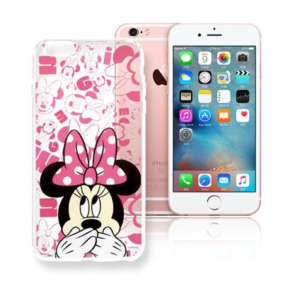 迪士尼 iPhone 6/6s i6s 4.7吋 大頭透明手機軟殼(摀嘴米妮)