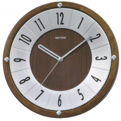 RHYTHM 日本麗聲 羅馬競技場 靜音恆動式秒針木框 掛鐘- 32 . 5 cm