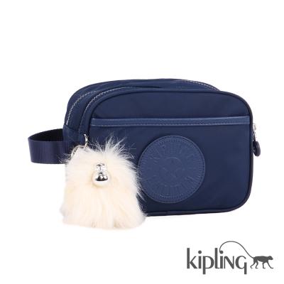 Kipling 化妝包 太空藍素面-小
