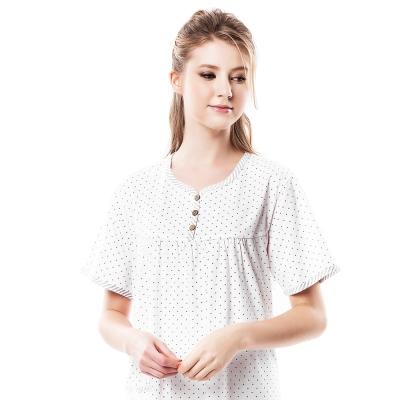 羅絲美睡衣 - 鑽石星星短袖洋裝睡衣(優雅白)