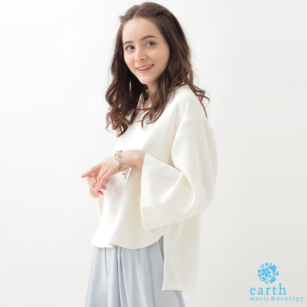 earth music 簡約V領前短後長寬袖上衣