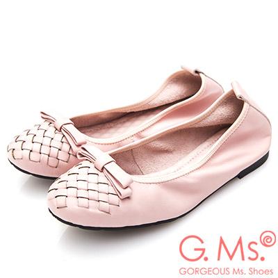 G.Ms. 牛皮編織蝴蝶結娃娃鞋-粉紅