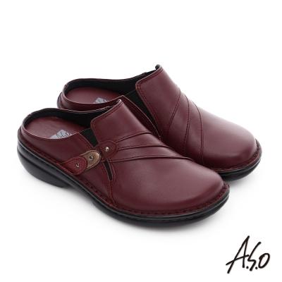 A.S.O 手縫氣墊3E寬楦 真皮抓皺鬆緊帶懶人鞋 紅色