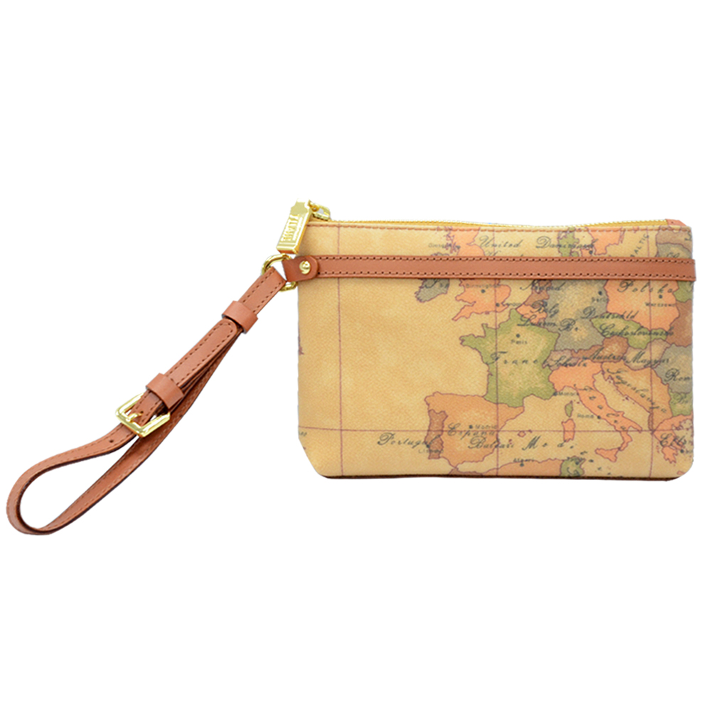 Alviero Martini 義大利地圖包 經典地圖PVC手拿包(中)-地圖黃