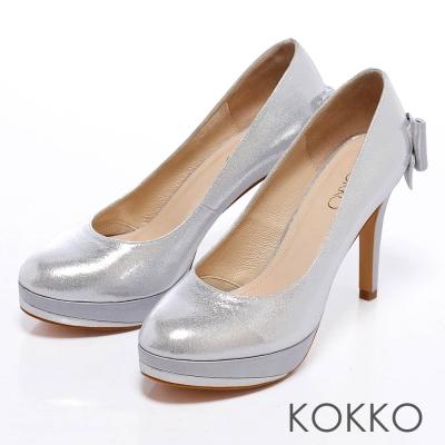 KOKKO經典花漾-光感璀璨吸睛紅毯高跟鞋-鑽石銀