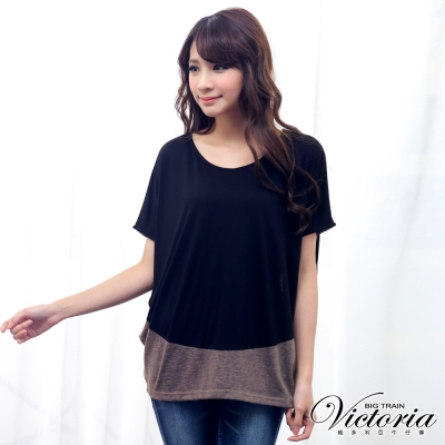 Victoria 異材質拼接寬鬆落肩短袖T-女-黑咖