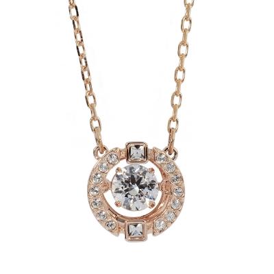 SWAROVSKI 施華洛世奇 圓形鏤空造型水晶玫瑰金色項鍊