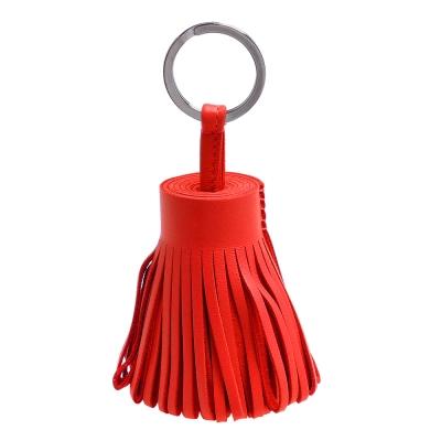 HERMES 流蘇造形山羊皮鑰匙圈手袋吊飾(紅)