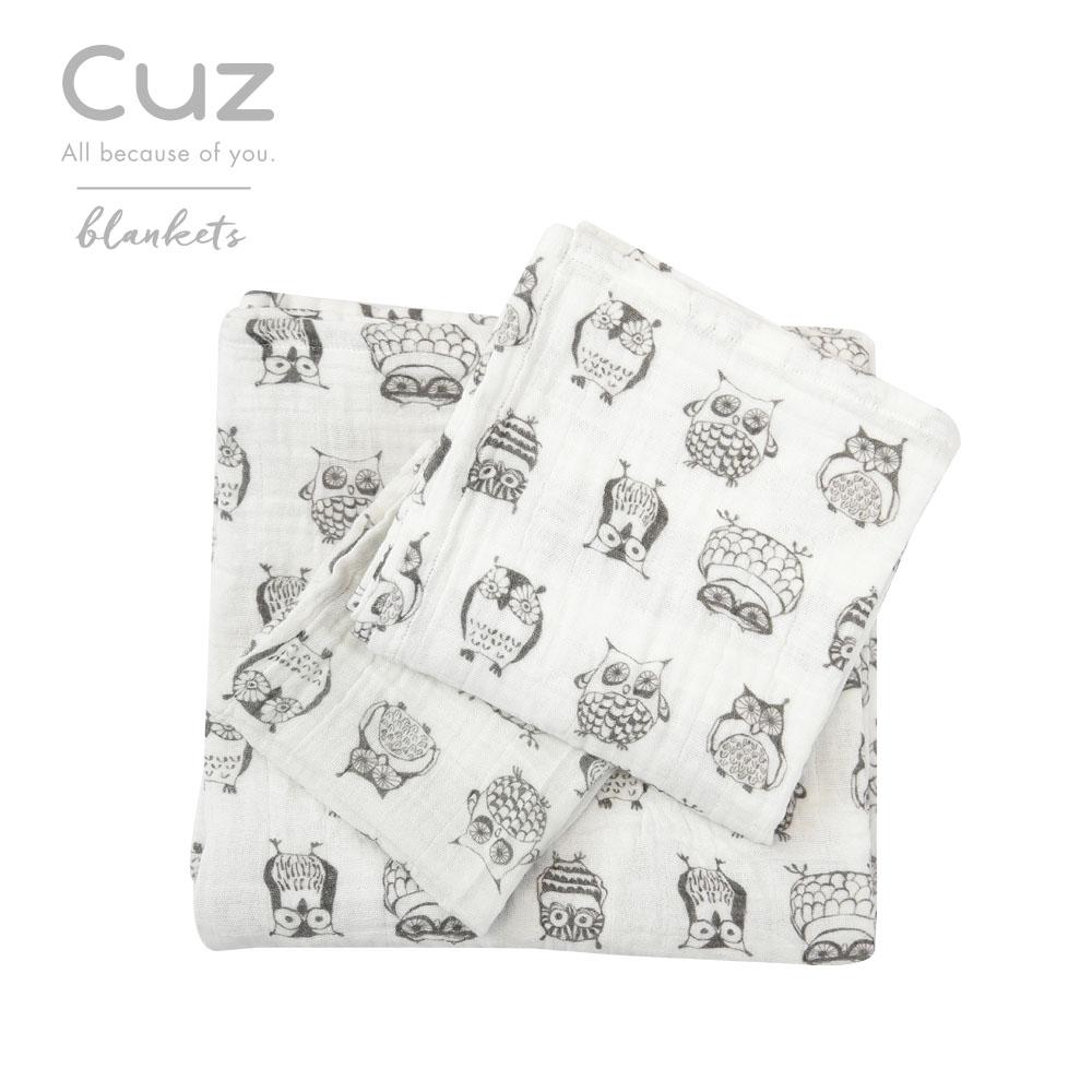 Cuz-貓頭鷹木頭人紗布巾30cm-2入