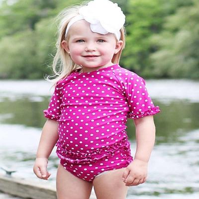 RuffleButts 小女童紅莓點點款荷葉邊短袖泳衣