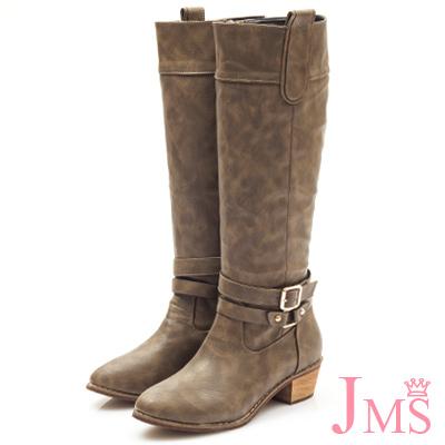 JMS-經典百搭造型雙扣馬蹄跟長靴-咖啡色