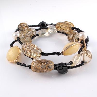 KOURIN 古典系列-水晶金色古典圖騰三環手鍊
