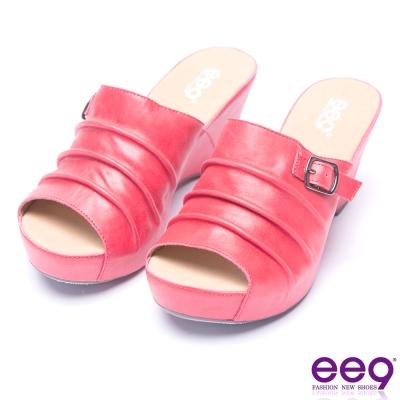 ee9 金屬扣環抓皺鏤空露趾楔形拖鞋-紅色