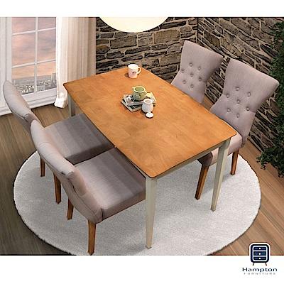 漢妮Hampton凱特四尺實木拉釦餐桌椅組-一桌四椅(鄉村雙色-米白)-120x80x74