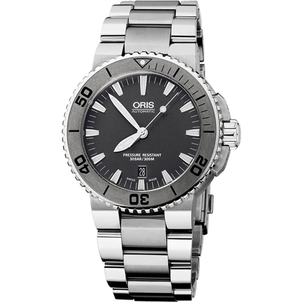Oris Aquis 時間之海專業潛水機械腕錶-鐵灰/43mm