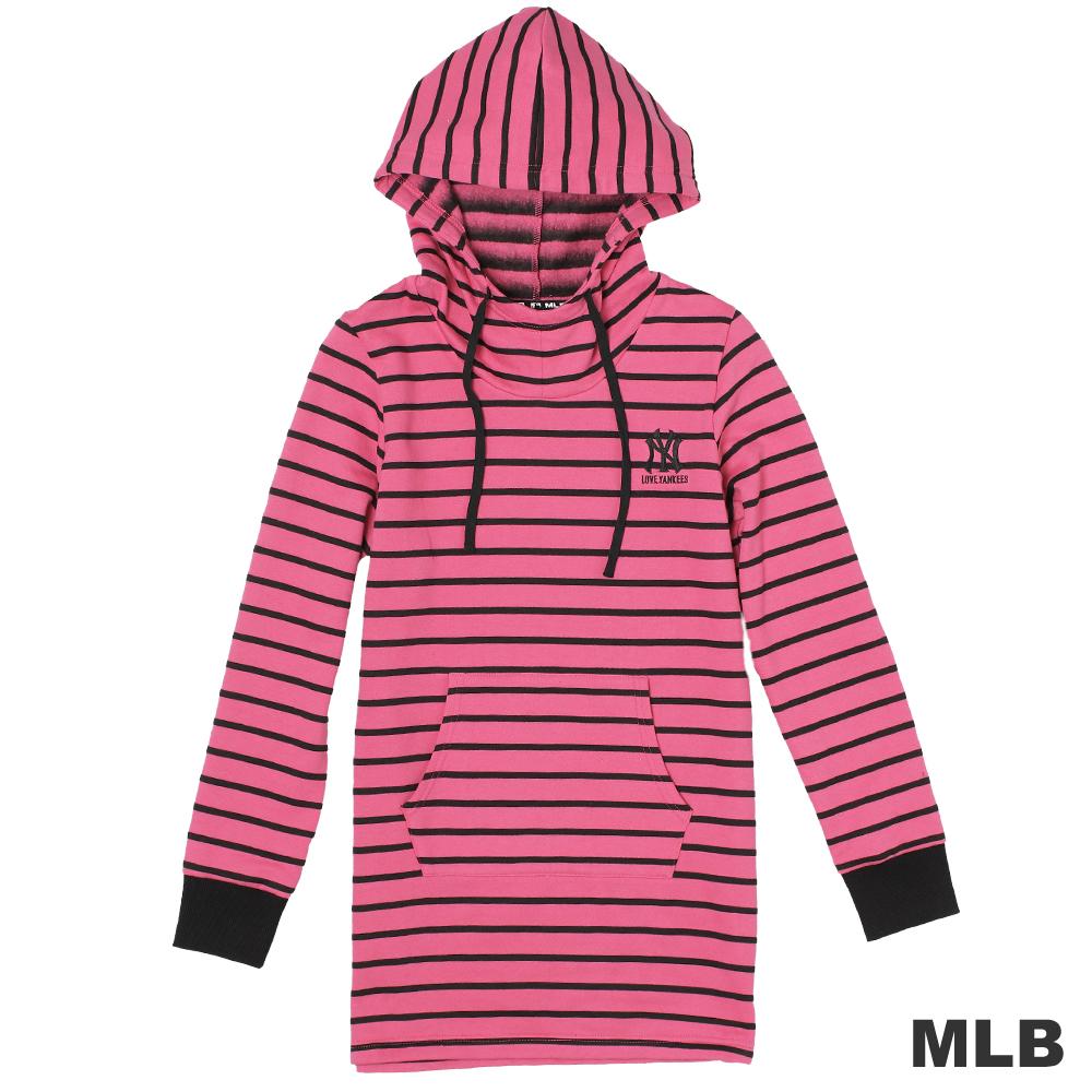 MLB-紐約洋基隊舒適長版連帽T-深粉紅(女)