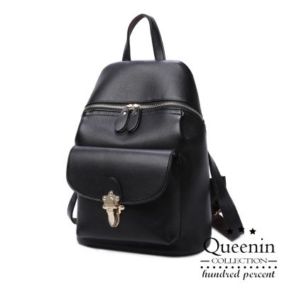 DF Queenin日韓 - 韓版首爾人氣仿皮款後背包