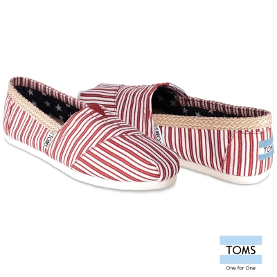 TOMS 條紋滕邊懶人鞋-女款