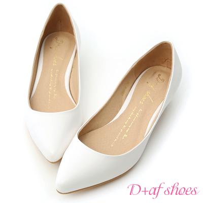 D-AF-百搭焦點-素面尖頭低跟鞋-白