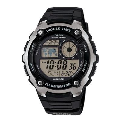 CASIO 城市地圖玩家數位休閒運動錶(AE-2100W-1A)-黑/47.7mm