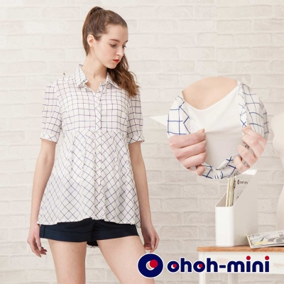 【ohoh-mini 孕婦裝】立體格紋拼接襯衫孕哺上衣