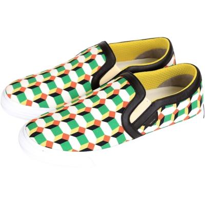 MOA SLIP ON QUADRATI 幾何圖形帆布便鞋(白x綠色)