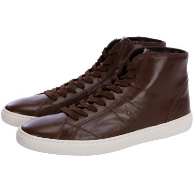 TOD'S 牛皮綁帶高筒休閒鞋(男鞋/咖啡色)