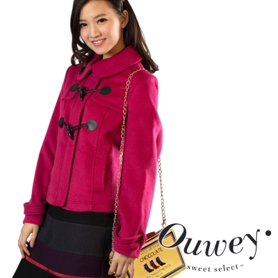 OUWEY歐薇-魅力桃色寶石牛角釦短版毛外套-桃