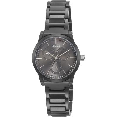 LICORNE 力抗錶 雙子系列三眼女錶-黑x深灰面/38mm