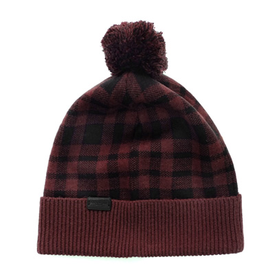 COACH可可紅黑色格紋絨球羊毛保暖帽(24CM)