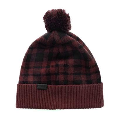 COACH可可紅黑色格紋絨球羊毛保暖帽(24CM)COACH