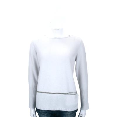 FABIANA FILIPP 灰藍色銀蔥條紋飾羊毛針織上衣(75%WOOL)
