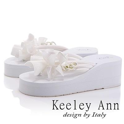 Keeley Ann 夏季定番~日系感舒適厚底夾腳拖鞋(白色-Asin系列)
