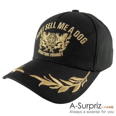 A-Surpriz 潮系流型韓風金色圖騰棒球帽(酷性黑)