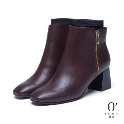 達芙妮x高圓圓-圓漾系列-踝靴-套踝設計素面方頭踝靴-酒紅8H