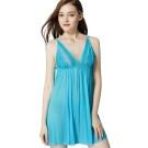 思薇爾 海洋派對系列蕾絲性感連身小夜衣(沁波藍)