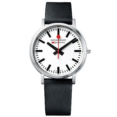 MONDAINE 瑞士國鐵stop2go經典腕錶-40mm/白